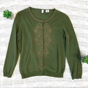 {Moth} Anthropologie Beaded Cardigan Sweater